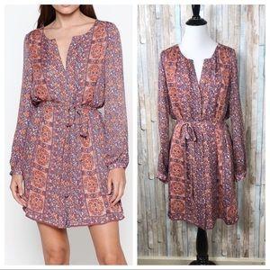 Joie M Floral 100% Silk Fianna Shirt Dress Tunic
